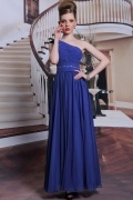 One shoulder long chiffon blue evening formal dress