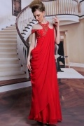 Red tone sleeveless long chiffon formal evening bridesmaid dress