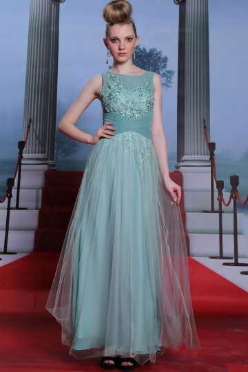 Dressesmall Sleeveless green tulle formal evening dress