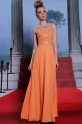 Sexy embroidery orange long School Formal Dress