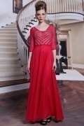 Beautiful Red Beadings 3 4 Sleeves Long Formal Dress