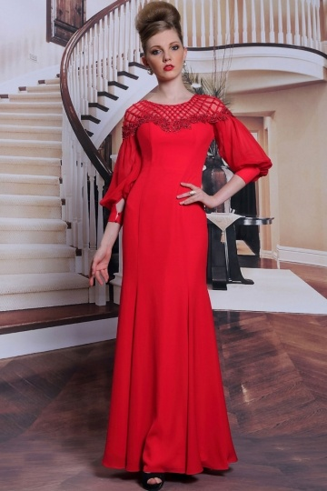 Dressesmall Vintage red zipper long formal evening dress with special sleeves