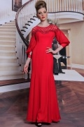 Vintage red zipper long formal evening dress with special sleeves