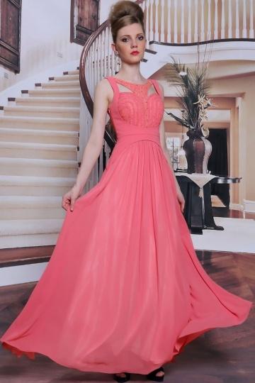 Dressesmall A line backless beading pink long formal evening dress