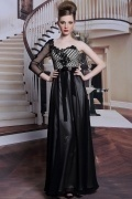 Black One Shoulder Empire Flower Full Length Chiffon Formal Dress