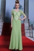 Green Chiffon Beading Appliques Trumpet Full Length Formal Dress with Jacket