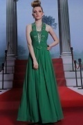 Gorgeous Green Ruffles Halter Beadings Floor Length Long Formal Dress