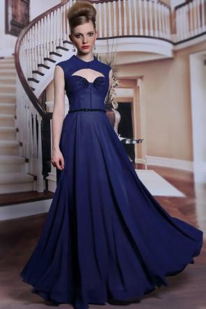 Chic jewel ribbon floor long formal evening dress with black beadings
