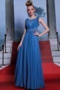 Chic robe bleue longue en mousseline