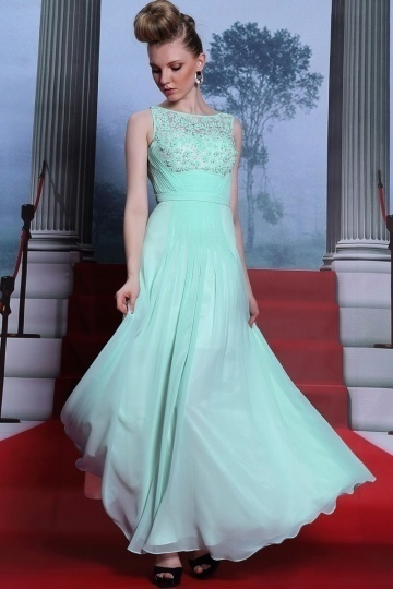 Dressesmall Green Sleeveless Flowers Beading Ruched Full Length Formal Dress