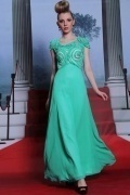 Ruffles Flower Cap Sleeves Beading Ankle Length Chiffon Formal Dress