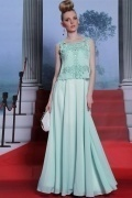 Beautiful Embroidery Green Two pieces Chiffon Long Semi Formal Dress
