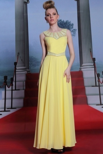 Dressesmall Gorgeous Yellow Embroidery Sleeveless Full Length Chiffon Formal Dress