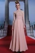 Robe rose de gala en mousseline à mancheron