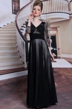 Robe de soirée noire à manche transparente