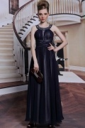 Elegant Halter Beading Ruched Chiffon Sleeveless Ankle Length Formal Dress