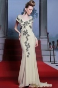 Special V neck Embroidery Court Train Trumpet Chiffon Yellow Formal Dress