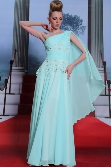 Dressesmall Ruched One Shoulder Beading Appliques Full Length Chiffon Formal Dress