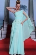Ruched One Shoulder Beading Appliques Full Length Chiffon Formal Dress