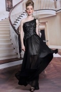 Modern One Shoulder Beadings Black Chiffon Long Formal Dress