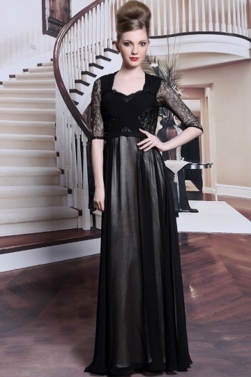 Dressesmall Sweetheart Lace Half Sleeves Zipper Black Chiffon Long Formal Dress