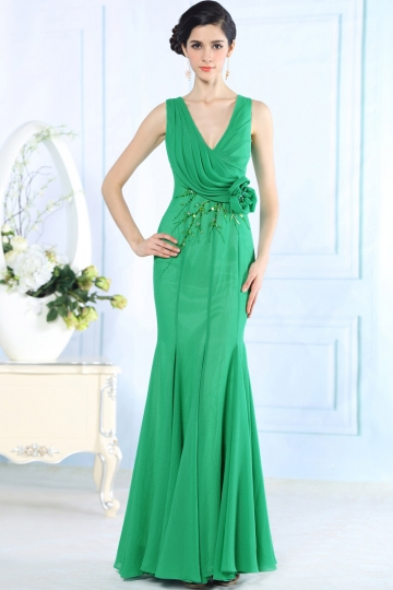 Dressesmall Sexy V neck Beading Ruched Chiffon Green Long School Formal Dress