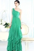Beading Ruffles Green Chiffon One Shoulder Long School Formal Dress