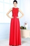 Elegant Scoop Lace Beading Red Chiffon Long School Formal Dress