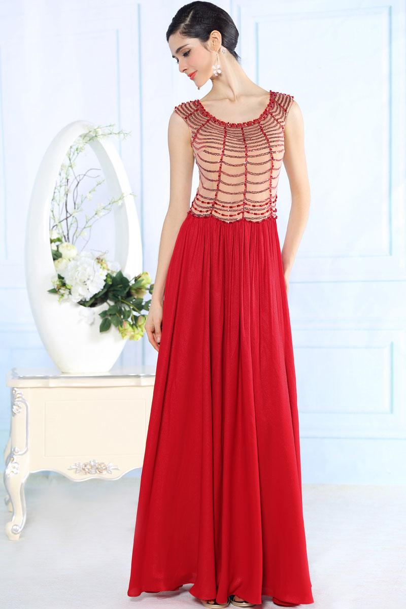 robe soir e rouge paillet e longue sol en mousseline. Black Bedroom Furniture Sets. Home Design Ideas