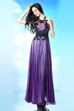 Robe plissée longue violette à dos ouvert pour soirée