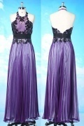 Sexy Chiffon Purple A Line Halter Backless Formal Dress