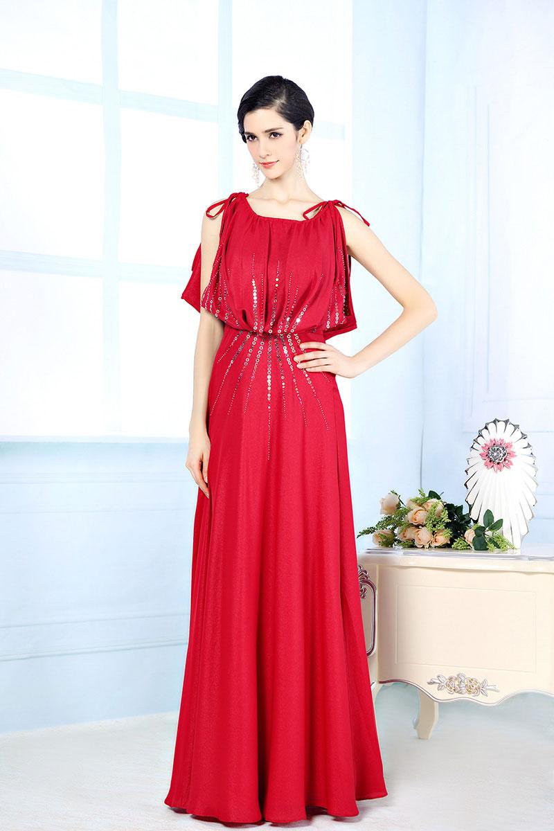 robe soir e rouge paillet e longue sol manche fendue. Black Bedroom Furniture Sets. Home Design Ideas