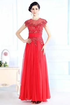 Robe soirée rouge longue empire ornée de paillettes et bijoux