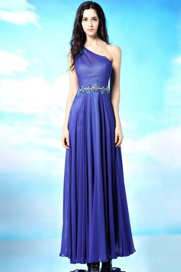 Sexy blaues Bodenlanges A-Linie ein Schulter Abendkleider Persun