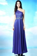 Modern Chiffon Blue One Shoulder A Line Beaded Formal Dress