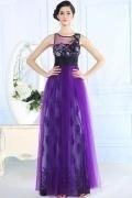 Jolie robe soirée violette froncéeà la taille et décolleté en V dans le dos