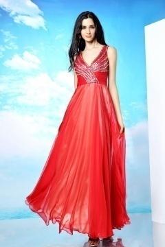 Robe soirée empire rouge longue décolletée en V