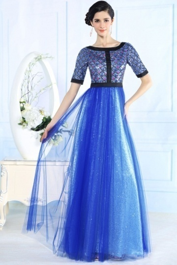 Dressesmall Vitnage Scoop Tulle Sequins Beading Short Sleeves Blue Long Formal Dress