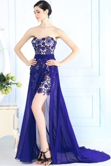Dressesmall Trendy High Low Beading Embroidery Tencel Purple Long Formal Dress