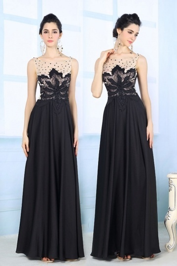 Black Chic Stain Bateau A Line Embroidery Evening Dress