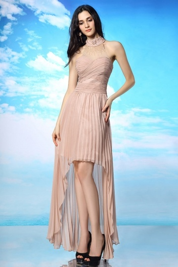 Dressesmall Sexy Chiffon Asymmetrical High Neck Natural Evening Dress