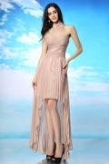 Sexy Chiffon Asymmetrical High Neck Natural Evening Dress