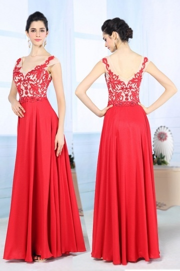 Dressesmall Sexy Red V Neck Long A Line Embroidery Formal Dress
