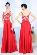 Sexy Red V Neck Long A Line Embroidery Formal Dress