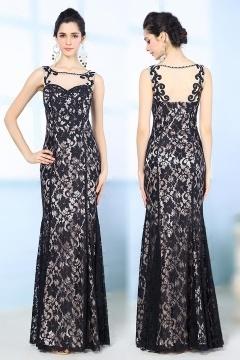 Classic Sheath Bateau Lace Appliques Beading Evening dress