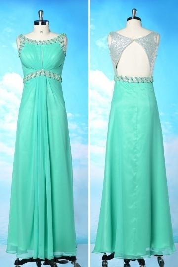 Dressesmall Modern Chiffon Green A Line Scoop Beading Evening Dress
