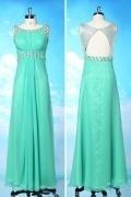 Chic A-Linie Rund-Ausschnitt langes grünes Abendkleid aus Chiffon