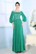 Robe de soirée verte longue effet bohème avec manche longue