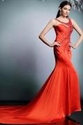 Elegantes Meerjungfrau langes rotes Abendkleid aus Satin