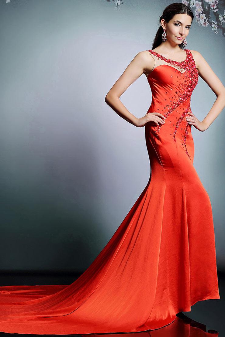 Chic rotes rund ausschnitt meerjungfrau pinsel schleppe - Rotes abendkleid lang ...